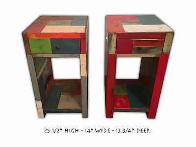 Rustic Recycled Wood Patchwork Night Stands / Side Tables Accent Furniture 10678