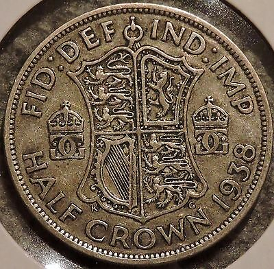 British Silver Half Crown - 1938 - King George VI - $1 Unlimited Shipping
