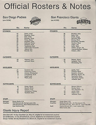 SAN DIEGO PADRES @ SAN FRANCISCO GIANTS 1996 Roster sheet