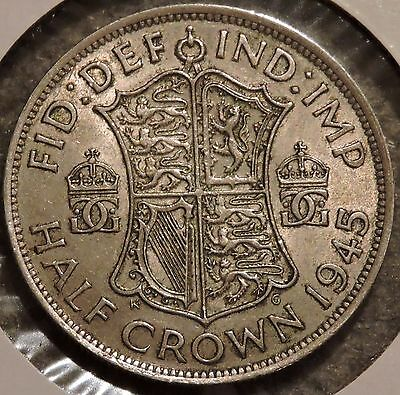 British Silver Half Crown - 1945 - King George VI - $1 Unlimited Shipping