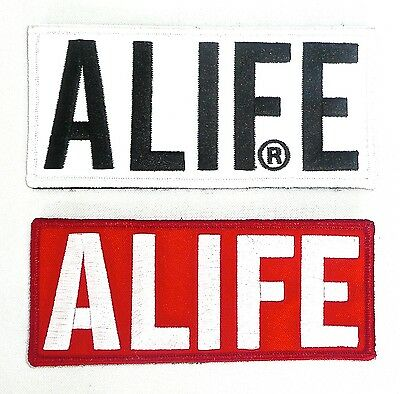 "(Set of 2) ALIFE Red/White 5 1/2"" And White/Black 5 3/4"" Embroidered Patch >NEW<"