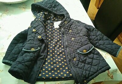 Next Infant Girls 1 1/2-2  Yrs Navy Blue Zip Up Coat