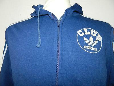 Vintage 1970s Hooded Adidas Club Tracksuit Top Casuals retro tracky size Small