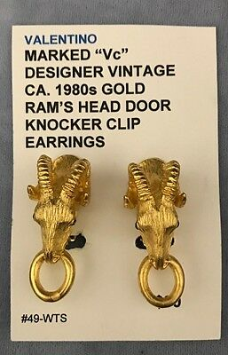"Gold Tone Ram's Head Door Knocker Clip Earrings Designer  Vintage ""Vc"""