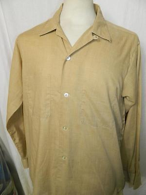 Vtg 1950s/60s mens polycotton loop shirt in beige by Mr Fredrick, rockabilly - M