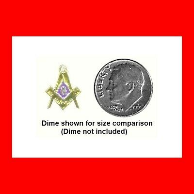 Small~Rhinestone Blue Lodge Masonic Free Mason Lapel Pin Freemason Logo Exc Gift