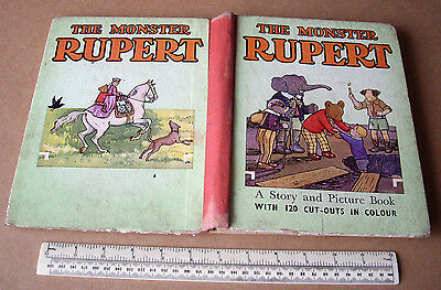 1940s The Monster Rupert Book with 120 Colour Cut-Outs - All Complete - Unusual