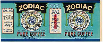 Tin Can Label Vintage Coffee Zodiac New Orleans Original General Store 1920S Bl