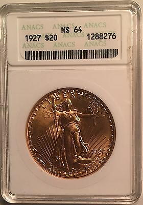 1927 $20 St. Gaudens Gold Double Eagle MS-64 ANACS