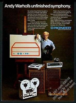 1976 Andy Warhol color photo Pioneer stereo system vintage print ad