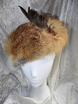 Luxurious Vintage red fox fur beret hat with feather detail