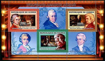 GUINEA Stock# HS22 Wolfgang A. Mozart Stamp Sheetlet