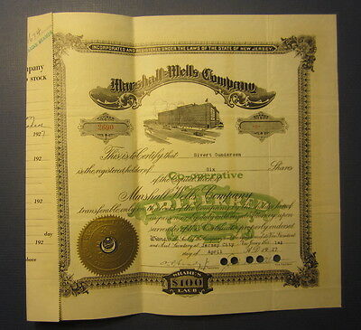 Old 1927 MARSHALL WELLS Co. - STOCK CERTIFICATE - Jersey City - NEW JERSEY