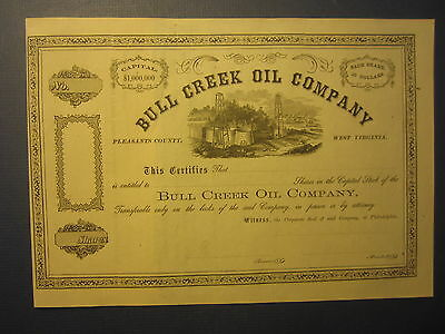 Old 1860's BULL CREEK OIL CO. - STOCK CERTIFICATE - Pleasants Co. West Virginia