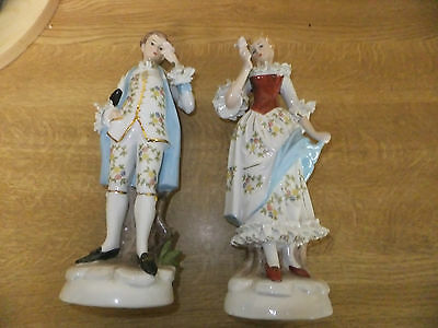Pair Of Continental Porcelain Large Figurines Nice Quality