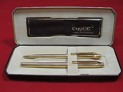 Vintage Elysee West Germany Gold Tone Fountain & Ball Point Pen Set Original Box