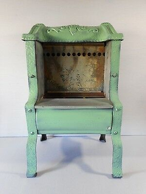Antique Parlor Heater Cast Iron Victorian Turquoise