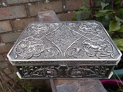 Vintage Superb Quality Ornate  Silver Plated Cherubs/floral  Jewellery Casket