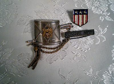 Antique/Vtg Lot 3 Military Pins ~Drum w Tassel & Eagle Emblem /Centennial Alumni