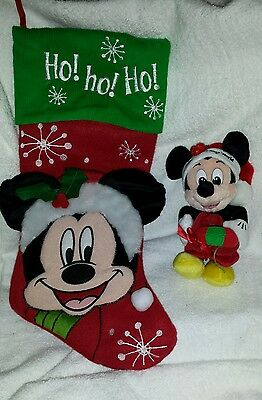 Disney World 1999 Mickey Mouse Plush & Mickey Ho Ho Ho Christmas Stocking