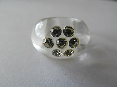VINTAGE CLEAR LUCITE w/CRYSTAL RHINESTONES STUDDING PLASTIC RING (SIZE SIX)