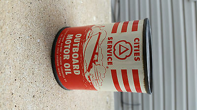 old Cities Service 8 ounce Outboard Motor Oil Can,Nice Graphics,CITGO.Full