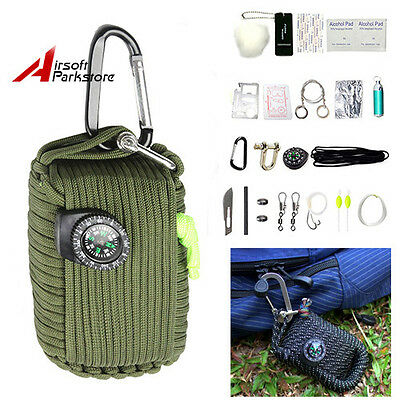Outdoor Fishing Camping Survival Emergency kit 29 Tools Paracord Kit Olive Drab