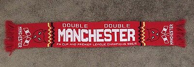 MANCHESTER UNITED Scarf - 'Double Winners' - *Free UK Post*