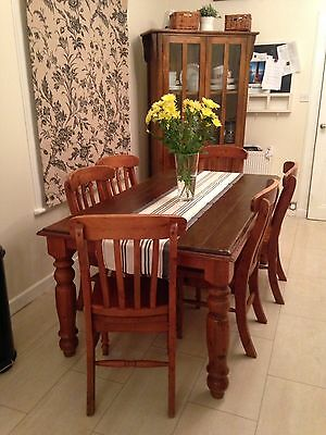 Solid Hardwood Country Farmhouse  Style Kitchen Dining Table & Chairs