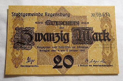 1918 Regensburg Germany 20 Mark Note Uncirculated