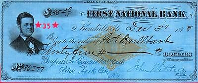 1878 Check - First National Bank -Illinois * Cancelled Revenue Stamp Blue Paper