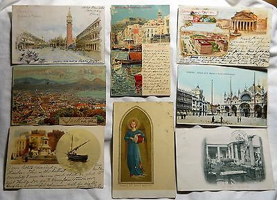 Eight Old Postcards From Italy Used 1899-1907