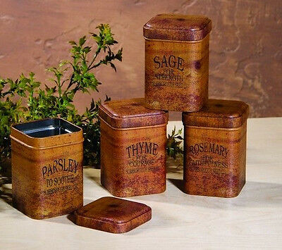 Vintage-Look Tin Food Safe Set/4 Spice Cans Tins Thyme Rosemary Sage Parsley