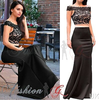 Womens Evening Dress Maxi Ball Gown Prom Party Formal Long Black Lace Size 1214