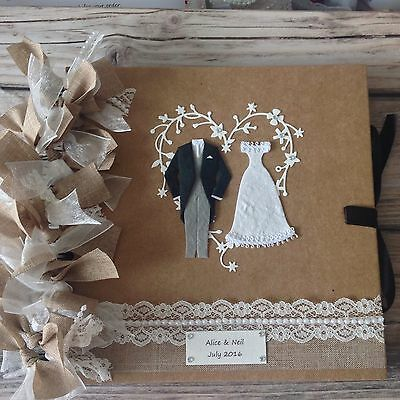 Hessian Burlap RUSTIC Theme Wedding GUESTBOOK /Photo Album PERSONALISED FOR YOU