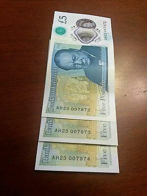 New 5 Pound Note Consecutive x 3 notes all James Bond 007.