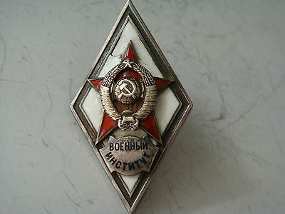 Original Russian Soviet Silver Military Institute/academy Badge