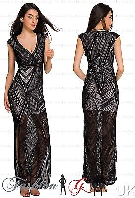 Womens Evening Dress Maxi Ball Gown Prom Black Party Formal Long Lace Size 8 10,