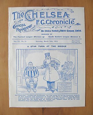 CHELSEA v SHEFFIELD UNITED 1913/1914 *Excellent Condition Football Programme*