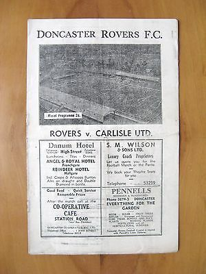 DONCASTER ROVERS v CARLISLE UNITED 1946/1947 *VG Condition Football Programme*