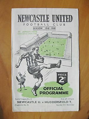NEWCASTLE UNITED v HUDDERSFIELD TOWN 1948/1949 Exc Condition Football Programme