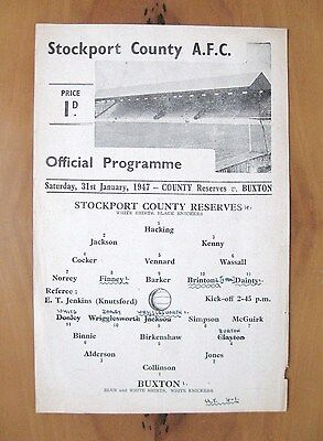 STOCKPORT COUNTY Reserves v BUXTON 1946/1947 *VG Condition Football Programme*