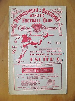 BOURNEMOUTH v EXETER CITY 1947/1948 *VG Condition Football Programme*
