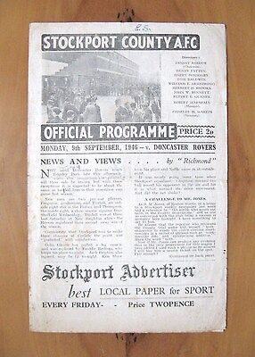 STOCKPORT COUNTY v DONCASTER ROVERS 1946/1947 Good Condition Football Programme