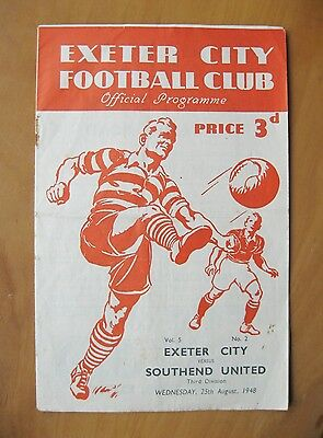 EXETER CITY v SOUTHEND UNITED 1948/1949 *VG Condition Football Programme*