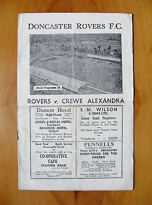 DONCASTER ROVERS v CREWE ALEXANDRA 1946/1947 *VG Condition Football Programme*