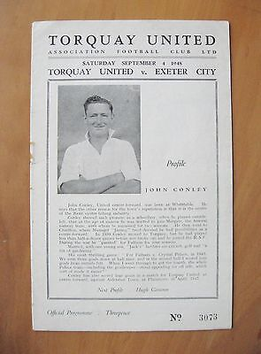 TORQUAY UNITED v EXETER CITY 1948/1949 *Excellent Condition Football Programme*