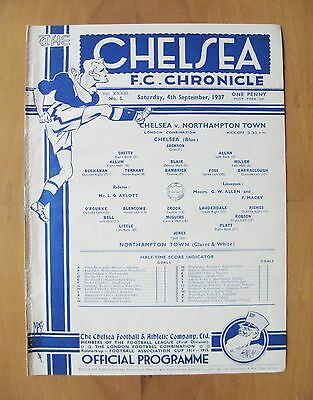 CHELSEA v NORTHAMPTON TOWN Reserves 1937/1938 *Exc Condition Football Programme*