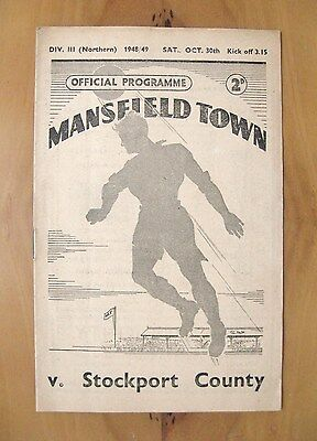 MANSFIELD TOWN v STOCKPORT COUNTY 1948/1949 *Exc Condition Football Programme*