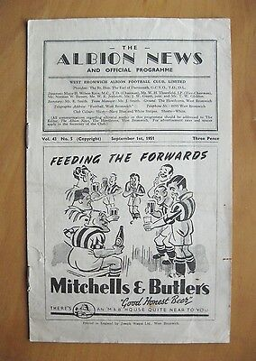 WEST BROMWICH ALBION v PRESTON NORTH END 1951/1952 Good Cond Football Programme
